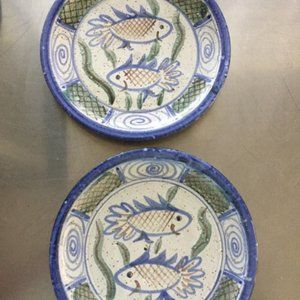 2 Clay Hand Painted Plates
